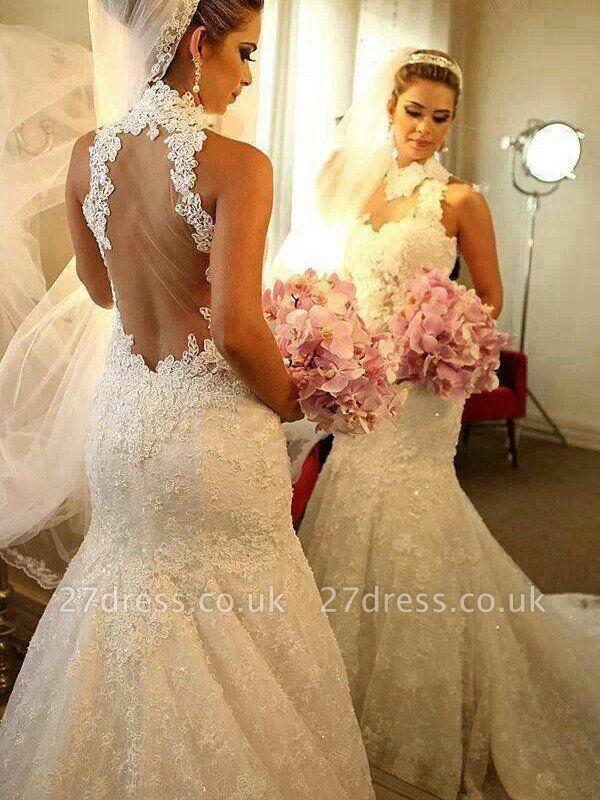 High Neck Lace Sleeveless Court Train  Sexy Mermaid Wedding Dresses UK