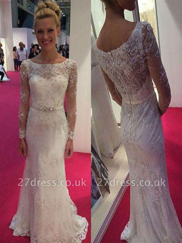 Sheath Lace Sweep Train Scoop Neckline Long Sleeves Wedding Dresses UK