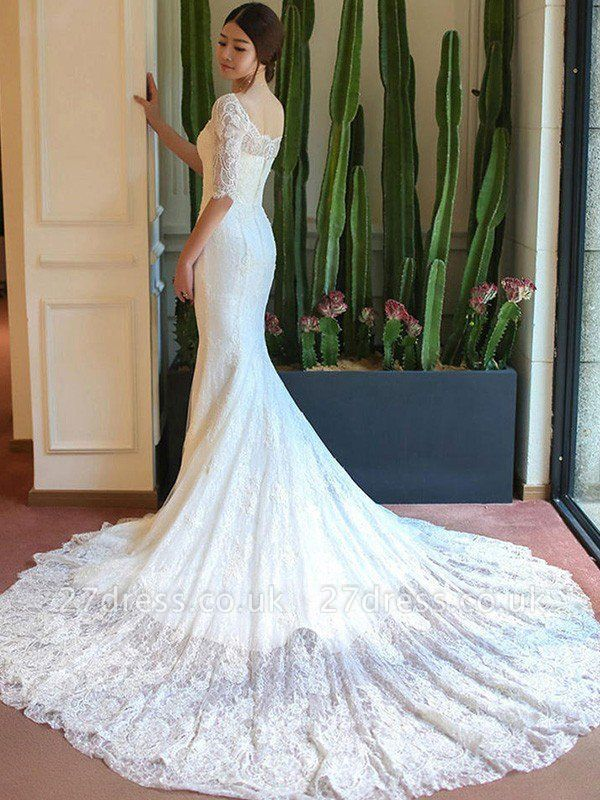Applique Sexy Mermaid Square Cathedral Train Lace 1/2 Sleeves Wedding Dresses UK