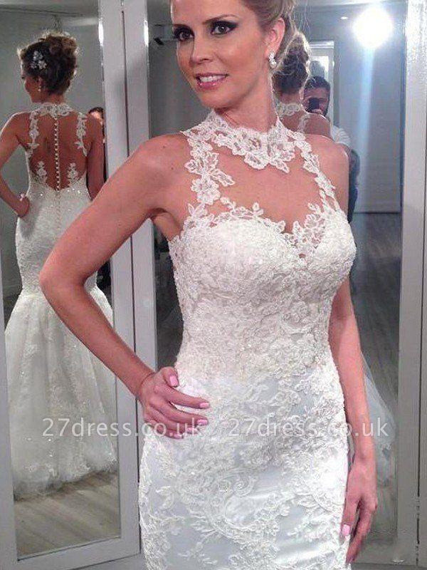 Sleeveless Lace Tulle Cheap  Sexy Mermaid Floor-Length High Neck Wedding Dresses UK