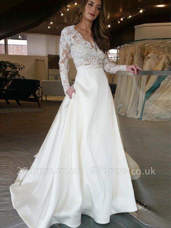 Sweep Train V-neck Satin A-Line Applique Long Sleeves Wedding Dresses UK