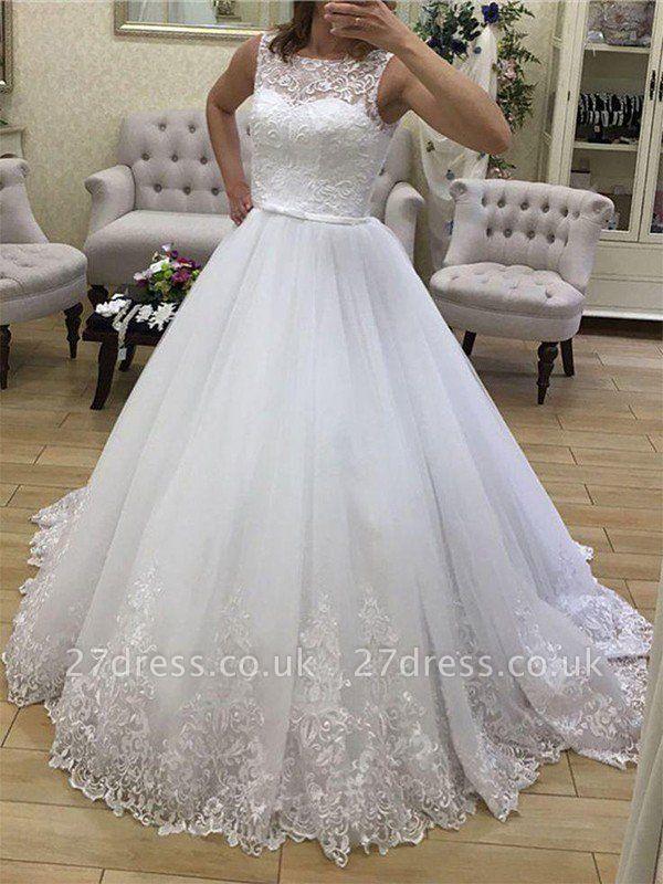Court Train Scoop Neckline Ball Gown Applique Tulle Sleeveless Wedding Dresses UK