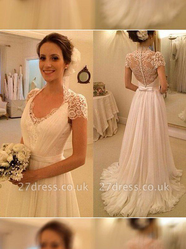 A-Line Sleeveless Lace V-neck  Sweep Train Wedding Dresses UK