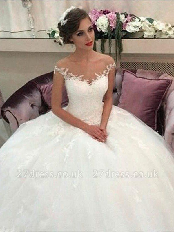 Sleeveless Off-the-Shoulder Tulle Cheap Court Train Ball Gown Wedding Dresses UK
