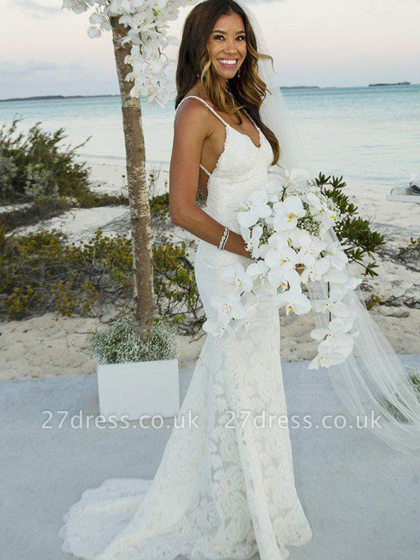 Spaghetti Straps Lace Sleeveless  Sexy Mermaid Sweep Train Wedding Dresses UK
