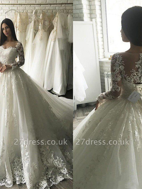 Applique Court Train Ball Gown Scoop Neckline Tulle Long Sleeves Wedding Dresses UK