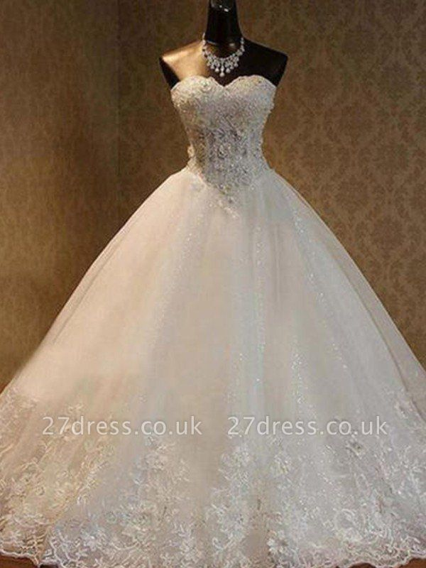 Tulle Ball Gown Floor-Length Sweetheart Beads Sleeveless Wedding Dresses UK