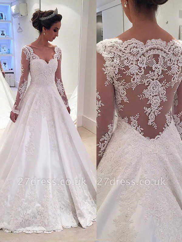 V-neck Court Train Ball Gown Lace Satin Long Sleeves Wedding Dresses UK