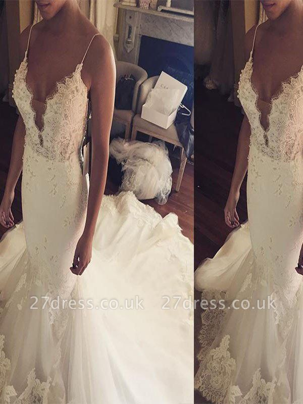 Court Train Sleeveless  Sexy Mermaid Lace Tulle Cheap Spaghetti Straps Wedding Dresses UK