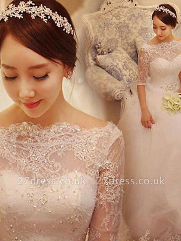 Tulle Ball Gown Beads Off-the-Shoulder 1/2 Sleeves Wedding Dresses UK