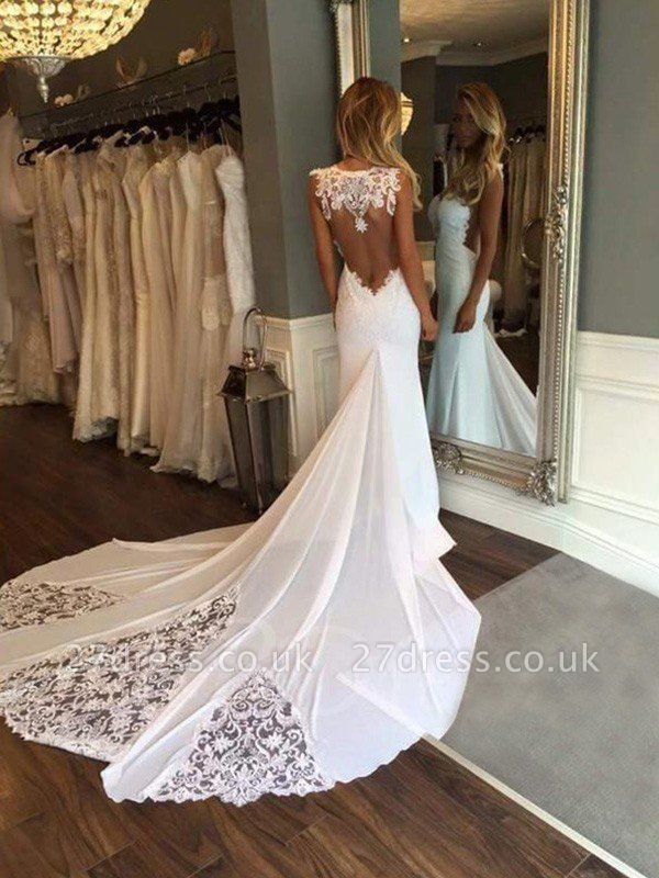 Cathedral Train Sexy Mermaid Sweetheart Applique Lace Sleeveless Wedding Dresses UK
