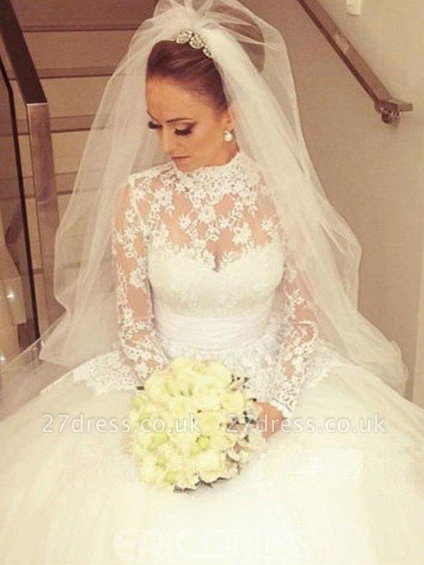Cathedral Train Ribbon Ball Gown High Neck Lace Long Sleeves Wedding Dresses UK