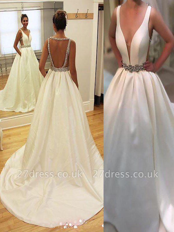 Satin Sleeveless A-Line V-neck Court Train Wedding Dresses UK