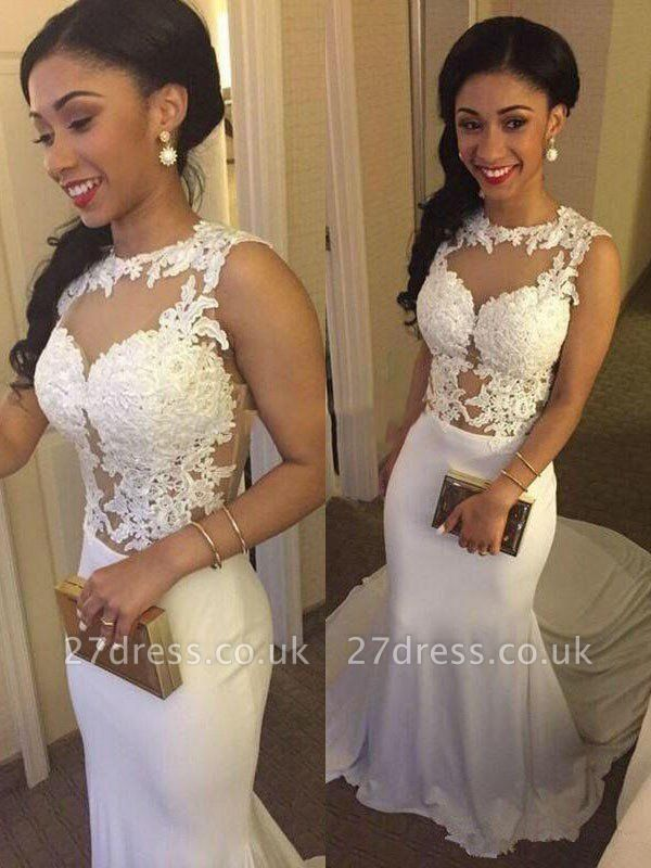 Court Train Satin  Sexy Mermaid Scoop Neckline Sleeveless Applique Wedding Dresses UK