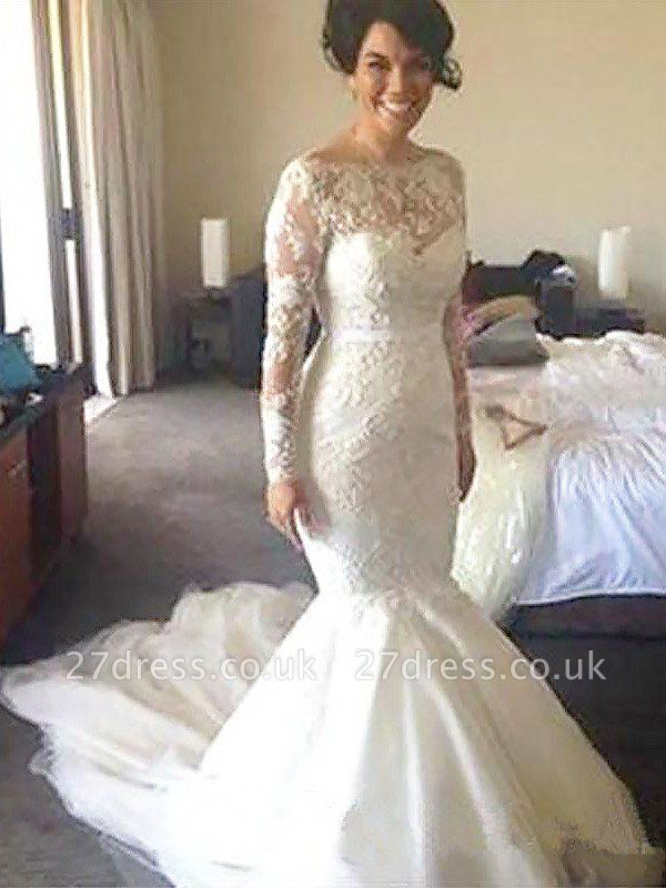 Tulle Applique A-Line Bateau Court Train Long Sleeves Wedding Dresses UK