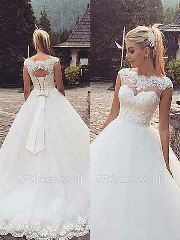 Tulle Ball Gown Bateau Lace Court Train Sleeveless Wedding Dresses UK