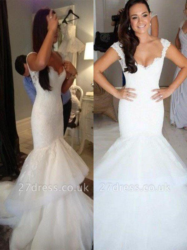 Straps Sleeveless  Sexy Mermaid  Organza Wedding Dresses UK