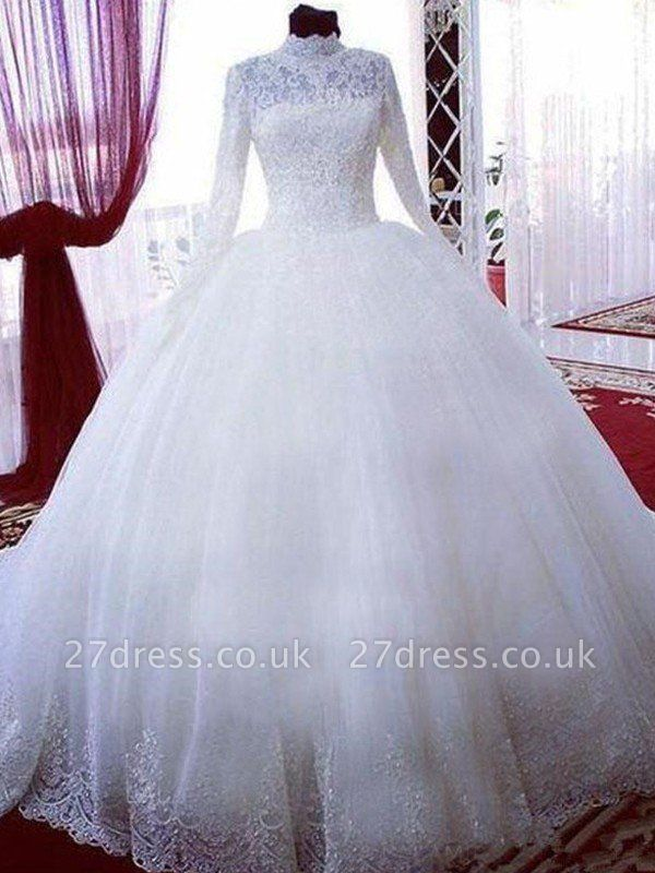 Lace Ball Gown Tulle Cheap High Neck Long Sleeves Wedding Dresses UK