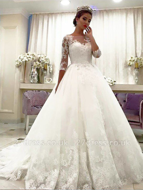 Bateau Court Train Ball Gown Lace Tulle Cheap 3/4 Sleeves Wedding Dresses UK