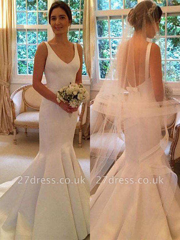 Satin Sweep Train  Sexy Mermaid Sleeveless V-neck Wedding Dresses UK