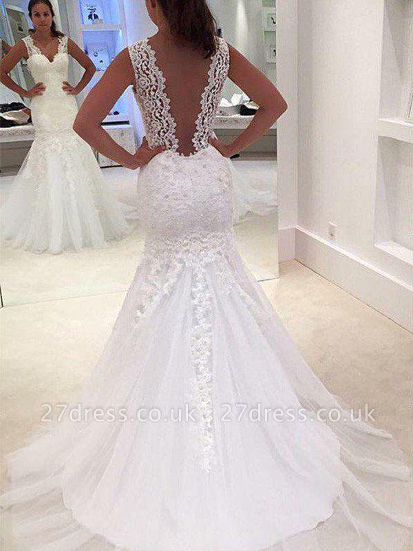 V-Neck Sexy Mermaid Court Train Applique Lace Sleeveless Wedding Dresses UK