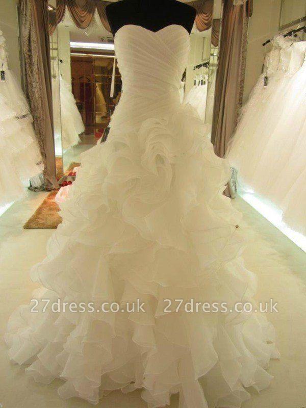 Ruffles Organza Ball Gown Sleeveless Court Train Sweetheart Wedding Dresses UK