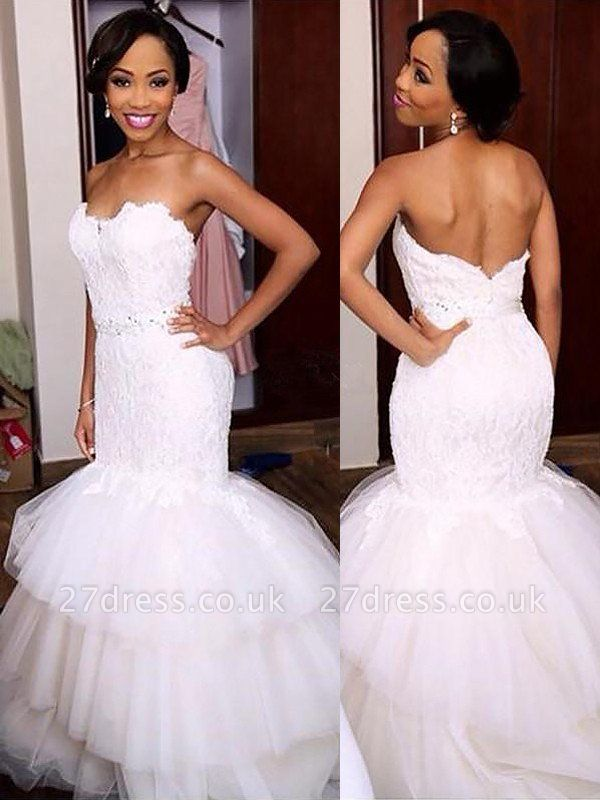 Sleeveless Tulle Sexy Mermaid Court Train Sweetheart Lace Wedding Dresses UK
