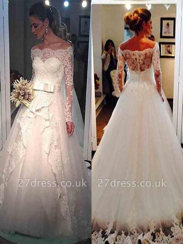 Long Sleeves Sweep Train Ball Gown Off-the-Shoulder Tulle Wedding Dresses UK