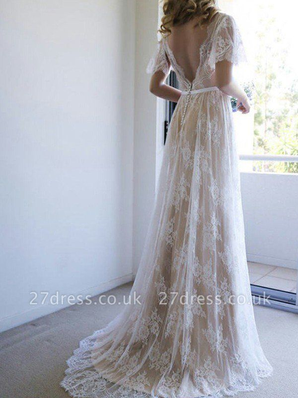 V-neck A-Line Lace Sweep Train Ribbon Short Sleeves Wedding Dresses UK