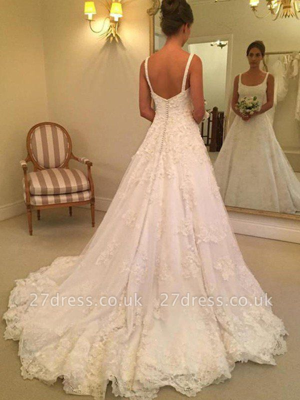 Court Train A-Line Straps Square Lace Applique Sleeveless Wedding Dresses UK