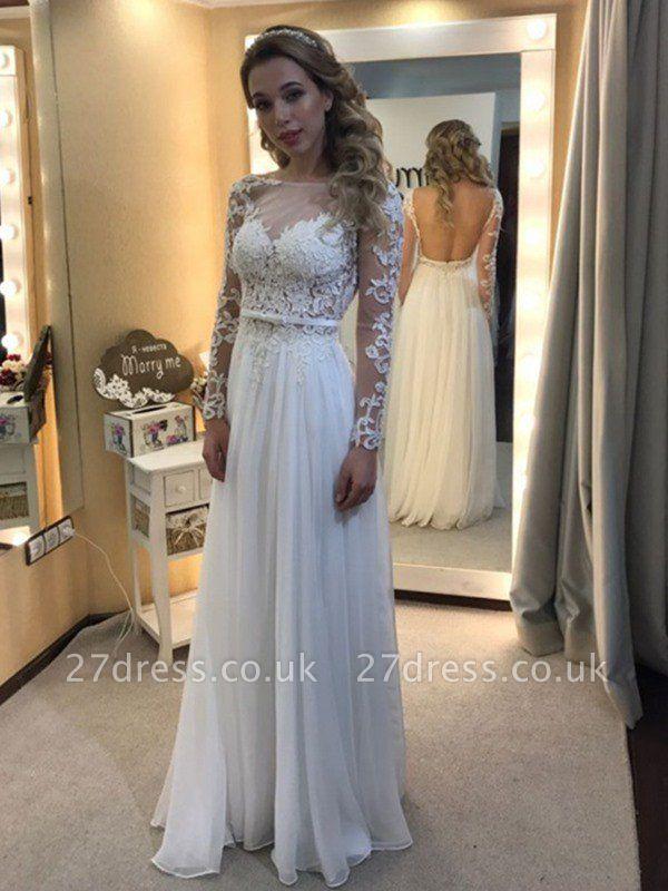 Floor-Length Lace  A-Line Bateau Long Sleeves Wedding Dresses UK