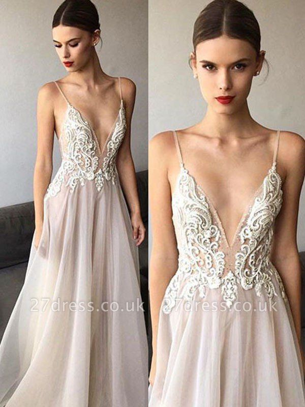 Sweep Train Spaghetti Straps A-Line  V-Neck Lace Tulle Sleeveless Wedding Dresses UK