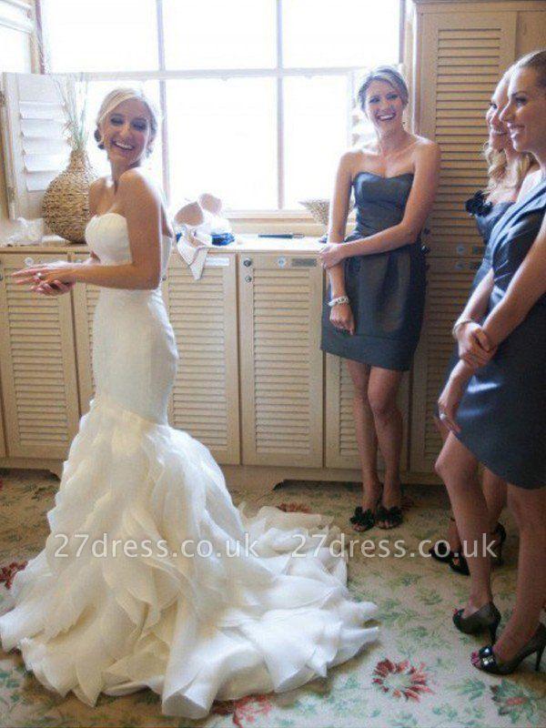Court Train  Sexy Mermaid Sleeveless Sweetheart Ruffles Satin Wedding Dresses UK