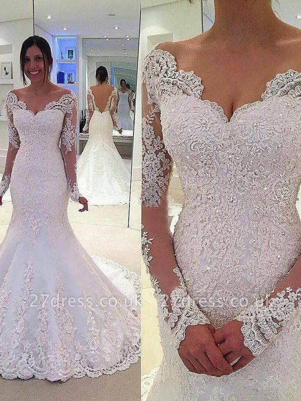 Long Sleeves  Sexy Mermaid Tulle Cheap V-neck Lace Court Train Wedding Dresses UK