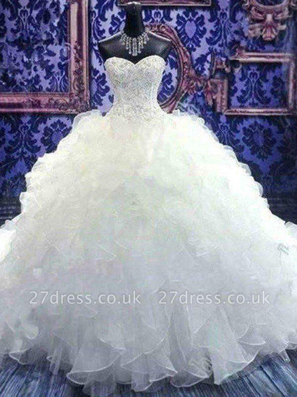 Sweetheart Sleeveless Organza  Beads Sequin Ball Gown Wedding Dresses UK