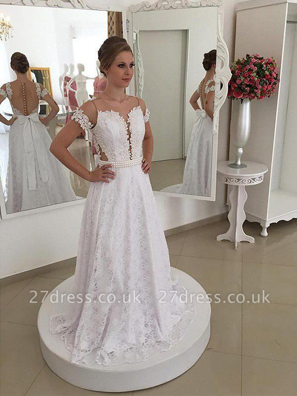 Lace Short Sleeves A-Line Sweep Train Scoop Neckline Wedding Dresses UK