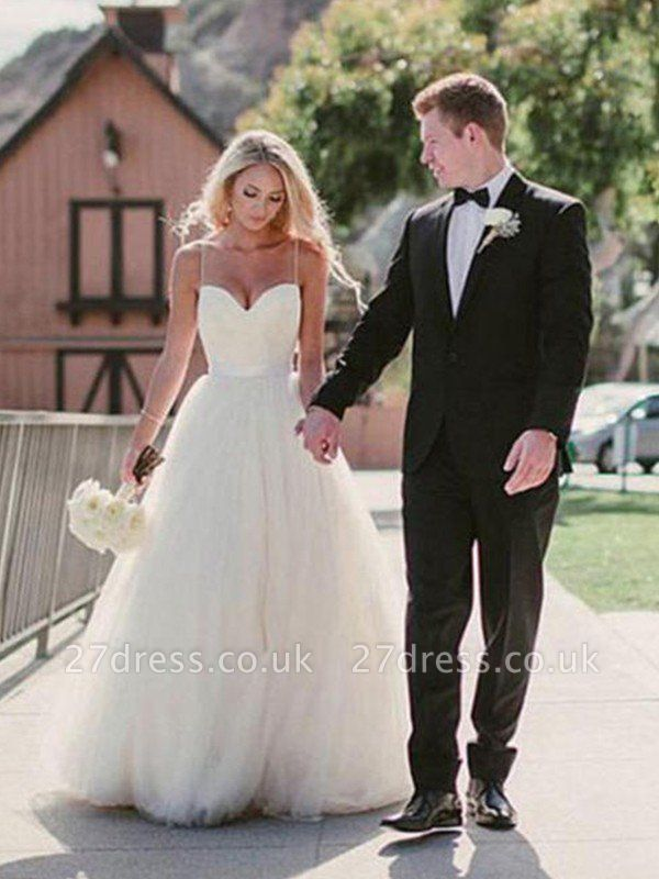 Sweep Train Ball Gown Sleeveless Tulle Cheap Sweetheart Wedding Dresses UK