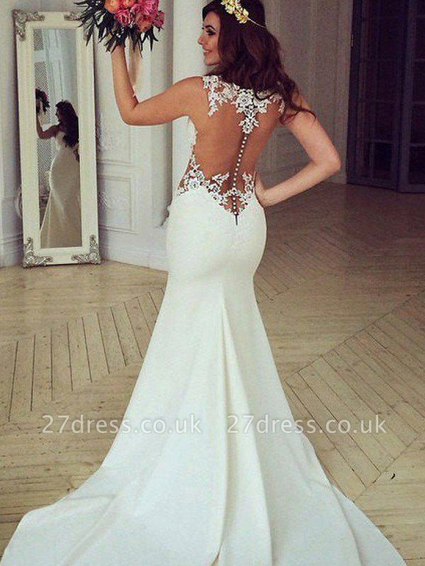 Sexy Mermaid Sweep Train Applique Lace Sleeveless Scoop Neckline Wedding Dresses UK