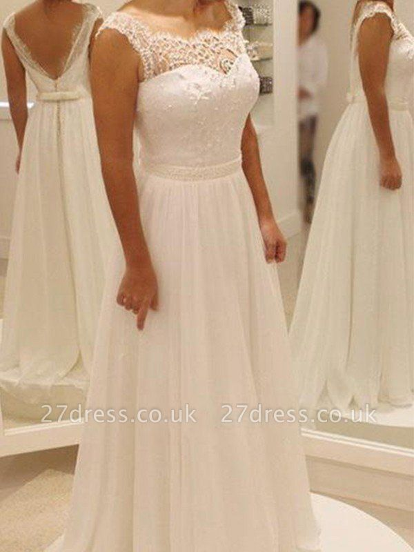 Bowknot  Sweep Train Lace Scoop Neckline A-Line Sleeveless Wedding Dresses UK