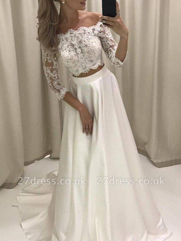 Court Train Applique A-Line Off-the-Shoulder Satin 3/4 Sleeves Wedding Dresses UK