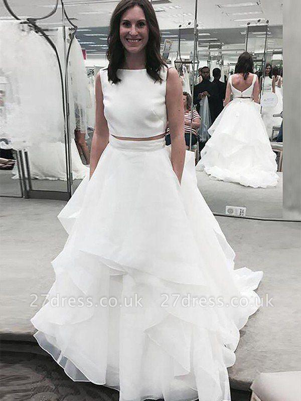 Sleeveless Court Train A-Line  Bateau Wedding Dresses UK