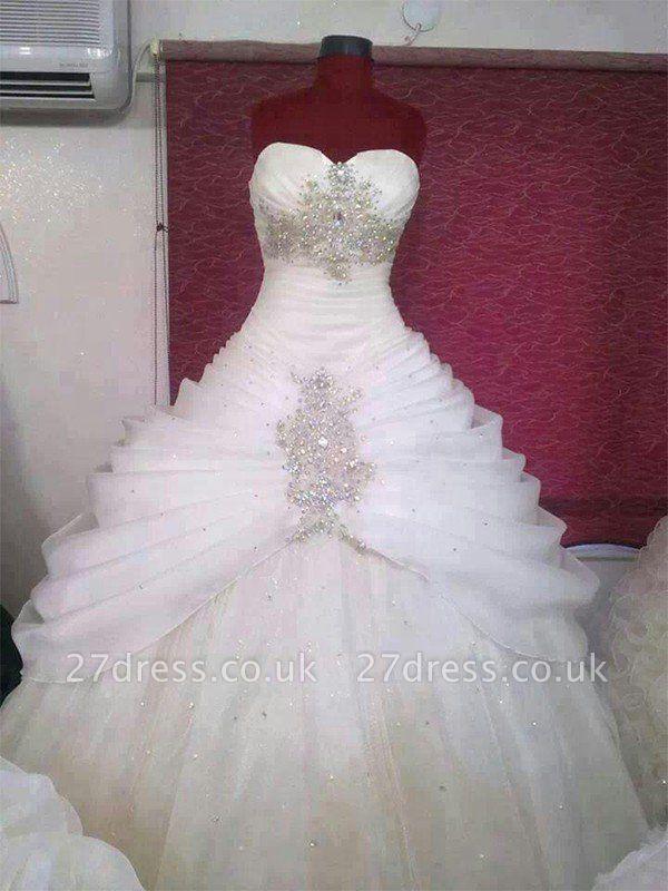 Floor-Length Ball Gown Sweetheart Tulle Sleeveless Ruffles Wedding Dresses UK