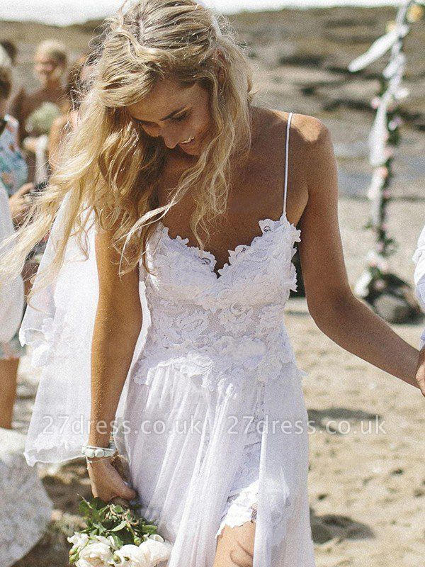 V-neck Applique Court Train A-Line  Sleeveless Wedding Dresses UK