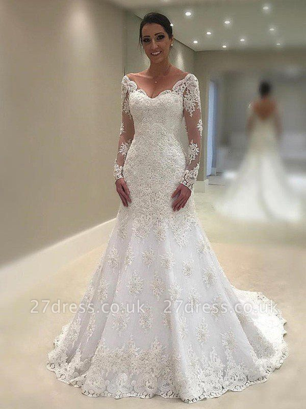 V-Neck Applique Lace Long Sleeves Sexy Mermaid Court Train Wedding Dresses UK