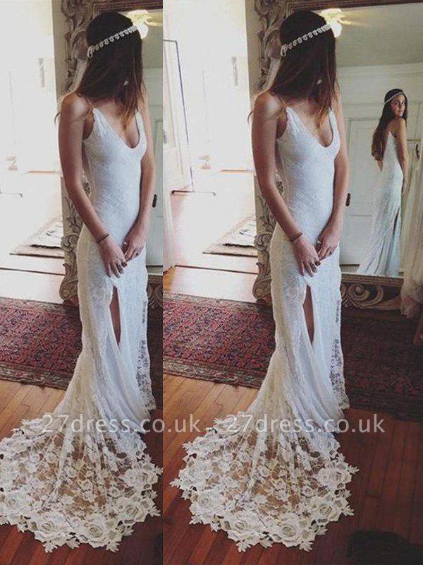 Straps Sheath Court Train Lace Sleeveless Wedding Dresses UK