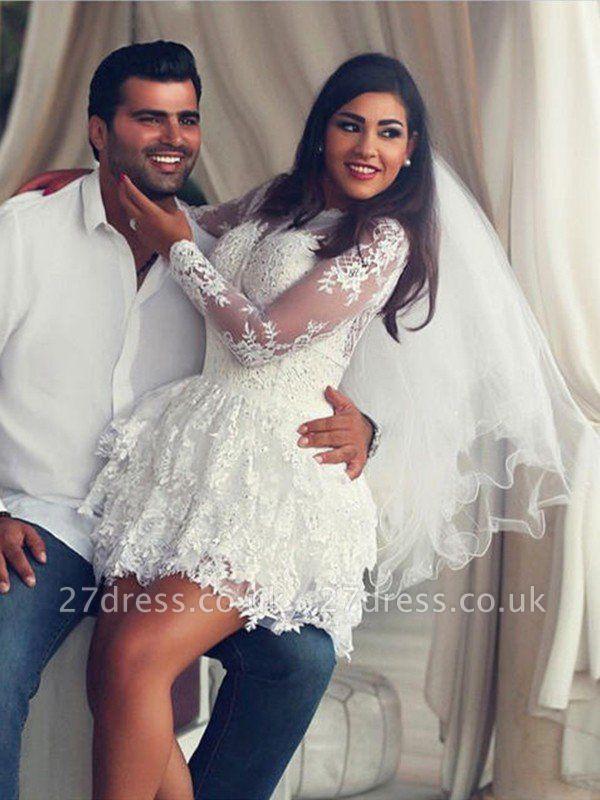 Mini A-Line Long Sleeves Scoop Neckline Applique Lace Wedding Dresses UK