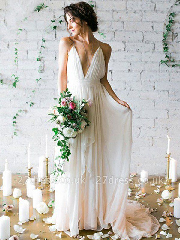 Sweep Train A-Line Sleeveless Ruffles  Spaghetti Straps Wedding Dresses UK