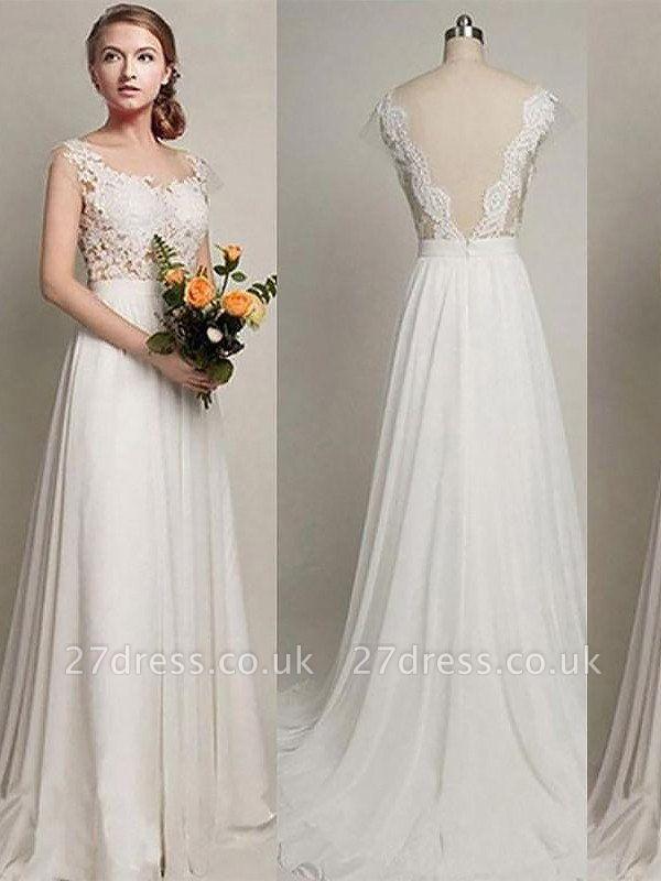 Scoop Neckline Sweep Train A-Line Sleeveless  Wedding Dresses UK