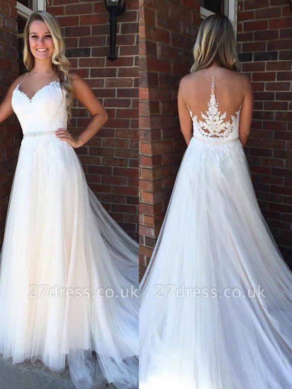 A-Line Applique Court Train Sleeveless Tulle Cheap Scoop Neckline Wedding Dresses UK