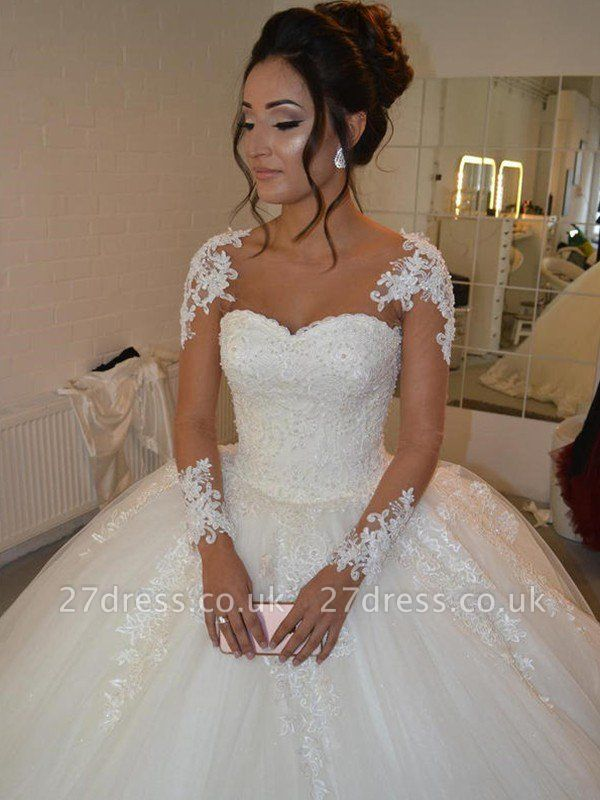Court Train Long Sleeves Tulle Cheap Scoop Neckline Applique Ball Gown Wedding Dresses UK